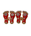 Lakshmi Swastika Feet StIcker - Red