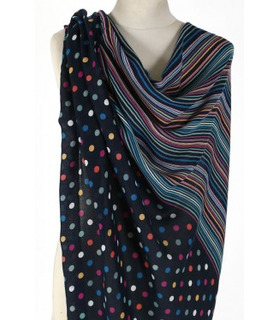 Multi Color dots and stripes - Wool Scarf