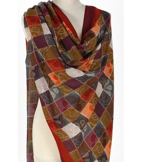 Printed Multi Color Squares - Wool Scarf
