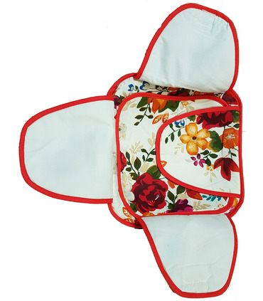 Traditional Roti Box - Bread Cover - Floral Red and White