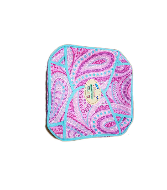 Traditional Roti Box - Bread Cover - Pink Pattern with Blue Outline